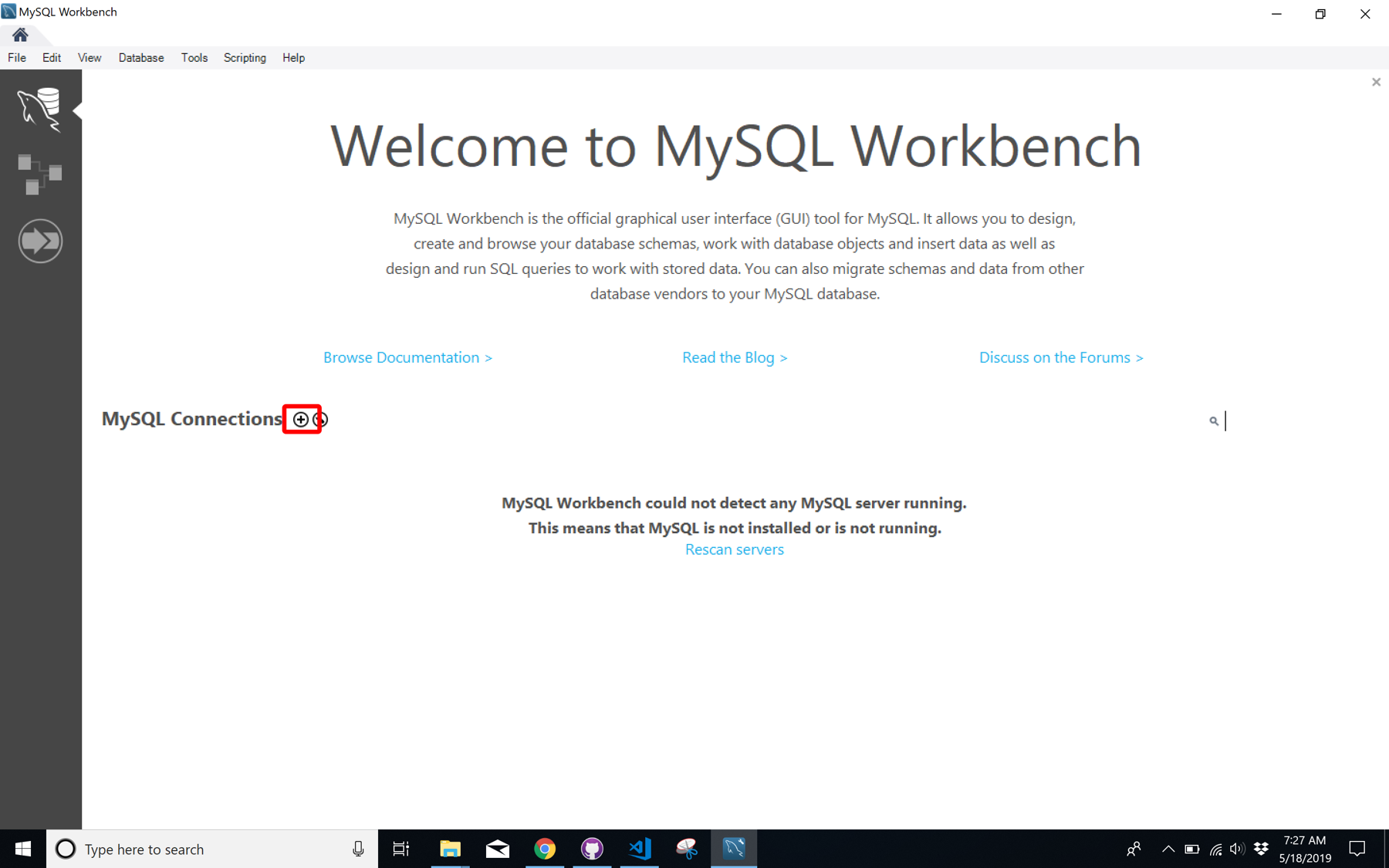 mysql-workbench-welcome-screen